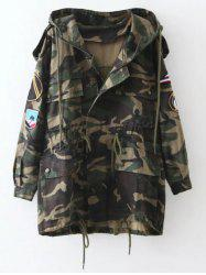 Embroidered Patched Hooded  Camo Utility Coat - ARMY GREEN