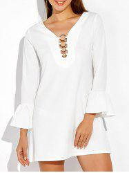 Flounced Short A Line Long Sleeve Dress - WHITE