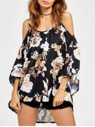 Chiffon Cold Shoulder High Low Printed Blouse -