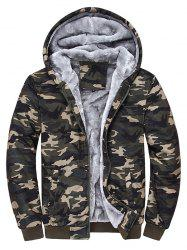 Hooded Camouflage Zip Up Fleece Hoodie