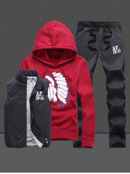 Native Printed Pullover Hoodie Three Piece Set - RED 4XL