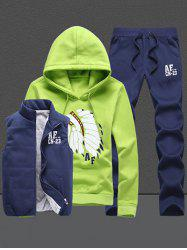 Native Printed Pullover Hoodie Three Piece Set -