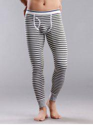 Striped U Convex Pouch Long Johns Pants