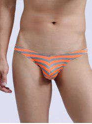 Stretch Low Rise Striped Thongs - ORANGE