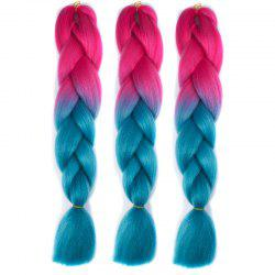 1 Pcs Heat Resistant Fiber Multicolor Ombre Braided Hair Extensions - BLUE AND RED