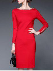Fitted Long Sleeve Pencil Dress -