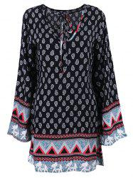 Long Sleeve Paisley Boho Tunic Dress
