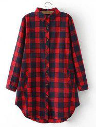 Plus Size Flannel Long Plaid Boyfriend Shirt