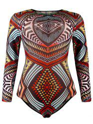 Mesh Surfing Tribal Print One-Piece Swimwear