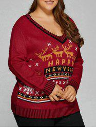 Christmas Elk Plus Size Graphic Sweater - DEEP RED 5XL