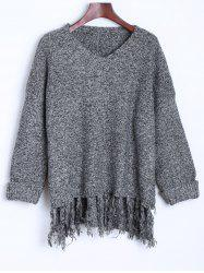 Tassel Drop Shoulder High Low Sweater -
