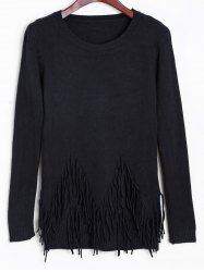 Front Fringe Pullover Sweater -