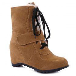 Fur-Trimmed Lace Up Mid Calf Boos -