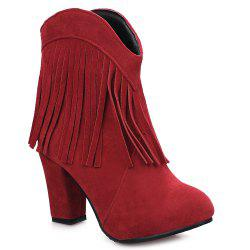 Suede Fringe Ankle Boots - RED