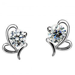 Rhinestone Heart Shaped Stud Earrings - SILVER