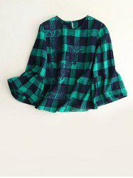 Embroidered Plaid Bell Sleeve Blouse