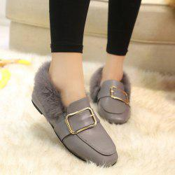 Faux Fur Buckle Flat Shoes - GRAY