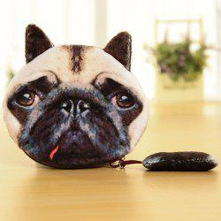 Zipper Dog Pattern Colour Block Coin Purse - BLACK