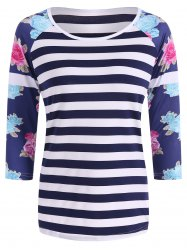 Floral Print Striped T-Shirt