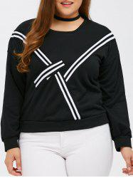 Patchwork Plus Size Pullover Sweatshirt - BLACK 4XL