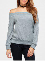 Off The Shoulder côtelé Sweatshirt - Gris