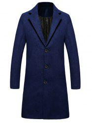 Single Breasted Lengthen Warmth Woolen Coat - DEEP BLUE