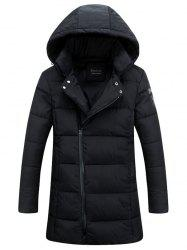 Hooded Lengthen Thicken Oblique Zipper Design Down Coat