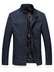 Stand Collar Plus Size Cotton Padded Zip Up Jacket -