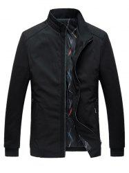 Stand Collar Plus Size Warmth Padded Zip Up Jacket