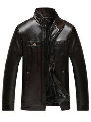 Stand Collar Plus Size Thicken Flocking PU Leather Jacket