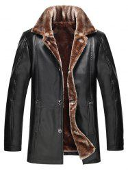 Faux Fur Collar Plus Size Single Breasted Flocking PU Leather Jacket