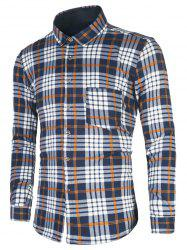 Tartan Print Turndown Collar Flocking Shirt
