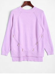 Faux Pearl Detailed Pullover Sweater -