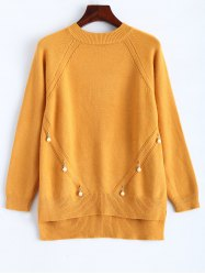 Faux Pearl Detailed Pullover Sweater