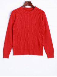 Crew Neck Wave Patter Knitted Sweater - RED