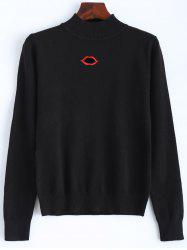 Lip Mouth Embroidered Knitted Sweater -
