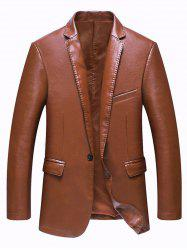 Pocket One Button Faux Leather Jacket