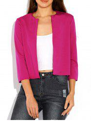 Open Front Plain Slimming Blazer - ROSE RED