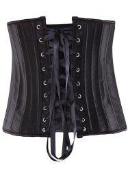 Steel Strapless Lace Up Waist Training Corset - BLACK