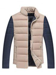 Color Block Splicing Stand Collar Zip Up Cotton Padded Jacket -