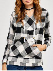 Kangaroo Pocket  Plaid Pattern Hoodie