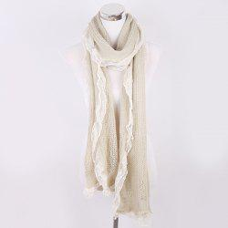 Faux Pearl Lace Edge Knitted Scarf -