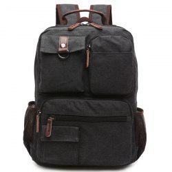 Pockets Canvas Colour Block Backpack -