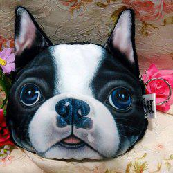 Dog Pattern Colour Splicing Zip Coin Purse - WHITE AND BLACK