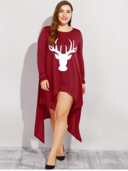 Elk Print Plus Size Asymmetric Christmas Dress