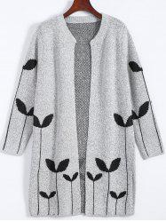 Graphic Open Cute Plus Size Cardigan - LIGHT GRAY