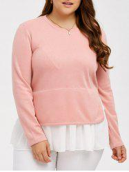 Flounce Splicing Plus Size Peplum Blouse