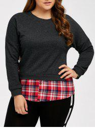 Plaid Splicing Plus Size Blouse