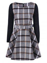 Grid Flare Dress With Belt - KHAKI