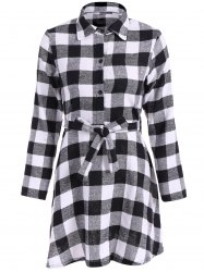 Flannel Check Belted Shirt Dress - WHITE/BLACK S